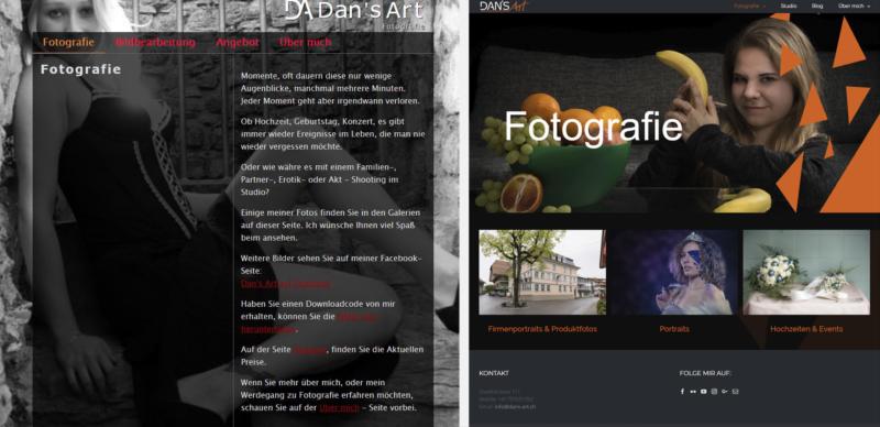 Website - Alt gegen neu